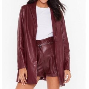 FAUX LEATHER TRENCH STYLE BLAZER